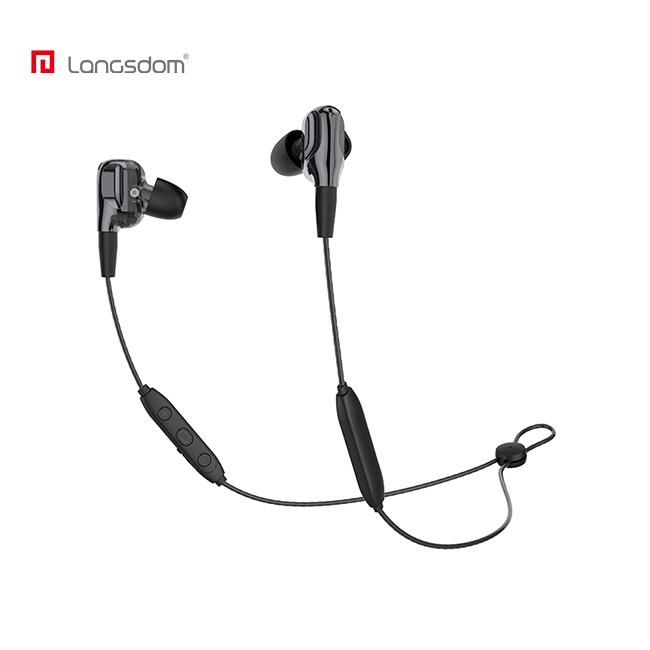 兰士顿BD35+ 入耳式耳机 可蓝牙可有线【DIY可换线】 有线控 挂脖双动圈四核音质 持久续航