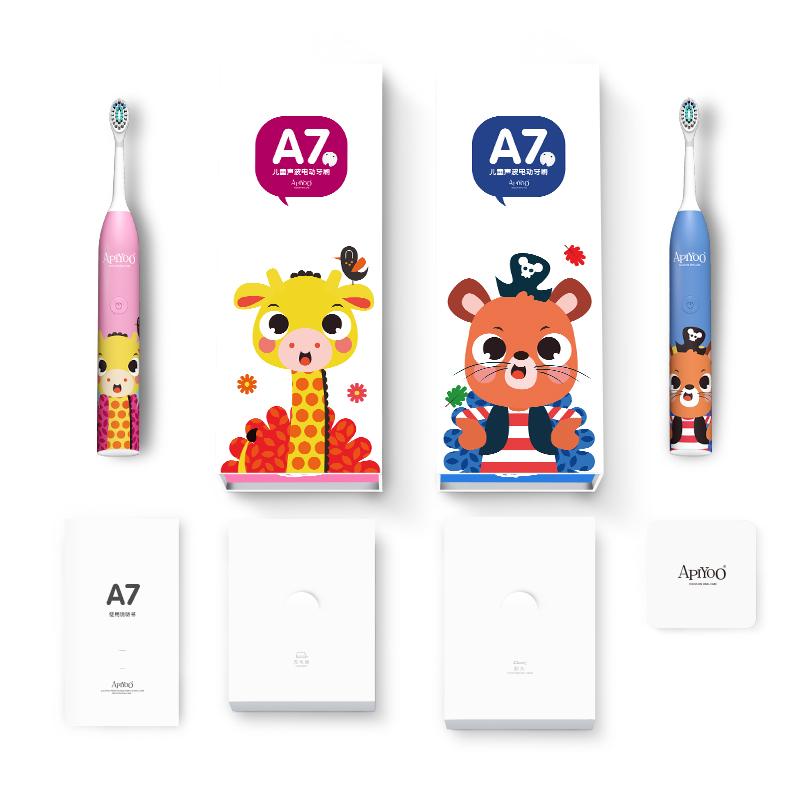 ApiYoo 荷兰艾优A7儿童电动牙刷 宝宝学生电动牙刷卡通声波震动3-12岁小孩 粉色班尼鹿(自带刷头*2)