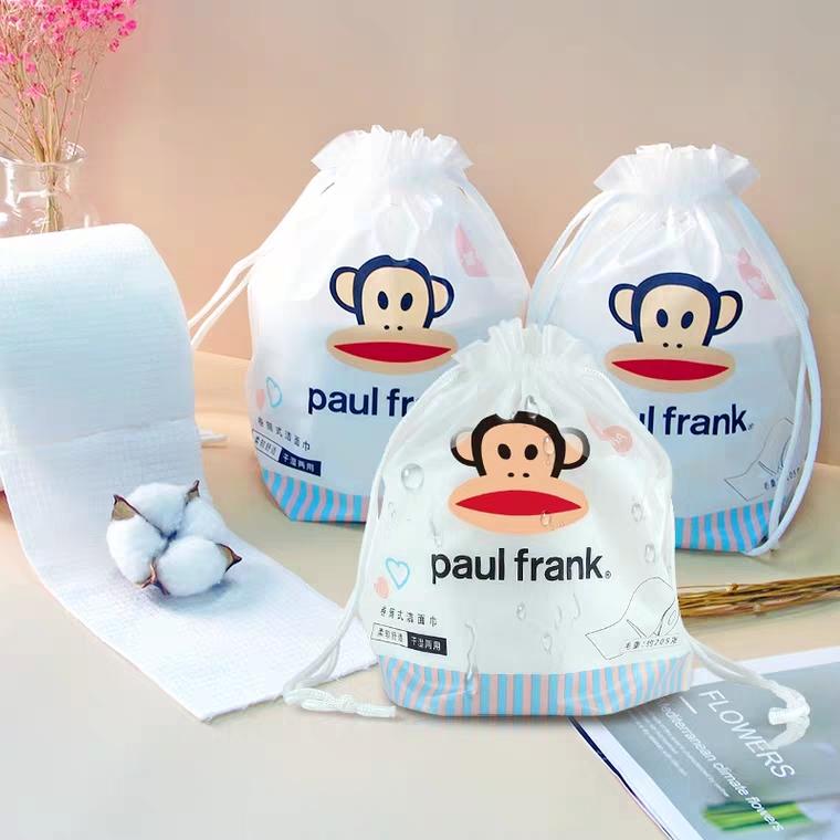 大嘴猴卷筒式洗脸巾加厚60段3卷 纯棉一次性洁面棉柔巾 干湿加厚擦脸巾