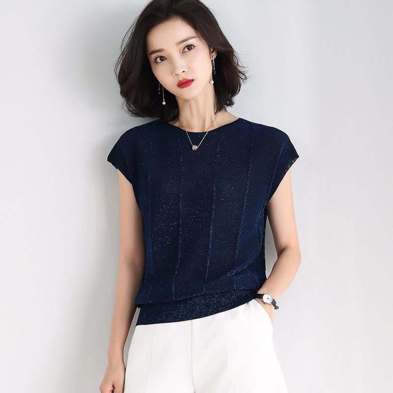 海谜璃 夏季新款宽松T恤蝙蝠衫竖纹薄款冰丝短袖针织衫女 HBF2327