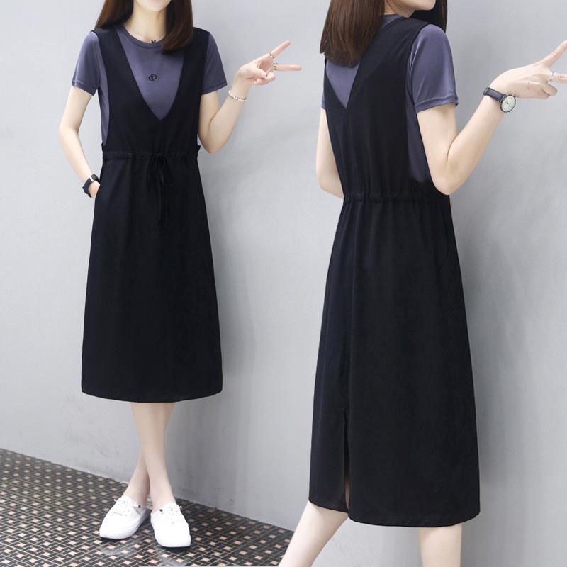 海谜璃 新款中长宽松显瘦两件套背带裙子时尚休闲连衣裙女 HBF2352