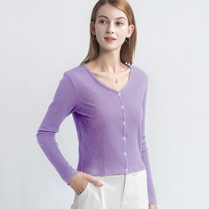 海谜璃 黑色长袖T恤女秋季新款修身上衣短款性感打底衫薄款ins潮 HBF2444