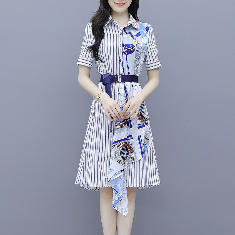 海谜璃 新款流行条纹衬衫雪纺连衣裙女夏装收腰显瘦气质a字印花裙 HBF2349