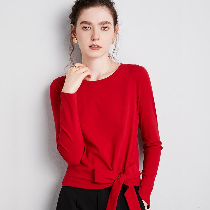 海谜璃 纯色长袖t恤女秋季长袖圆领棉体恤减龄蝴蝶结系带设计感上衣 HBF2439