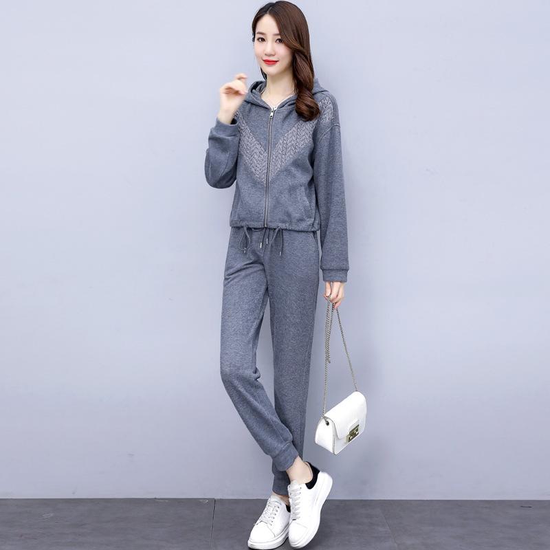 海谜璃 休闲运动套装女秋季新款大码女装时尚气质洋气减龄春秋两件套 HBF2451