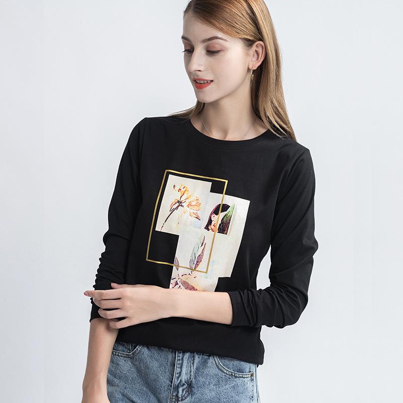 海谜璃 白色印花长袖T恤女新款秋季艺术感印花显瘦棉t桖上衣 HBF2446