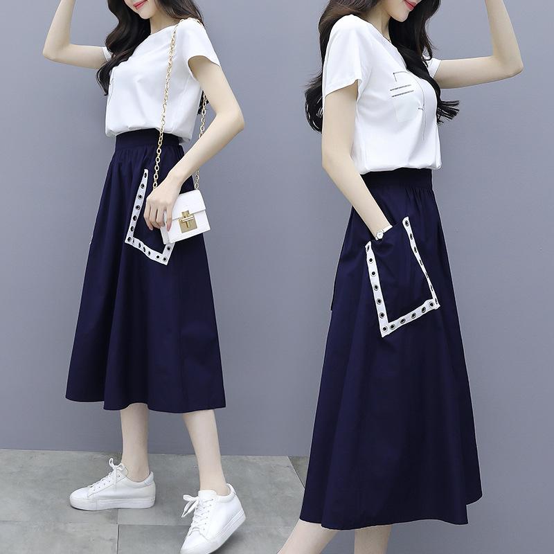 海谜璃 新款夏季两件套高腰中长款连衣裙女短袖长裙套装拼接洋气套裙 HBF2350