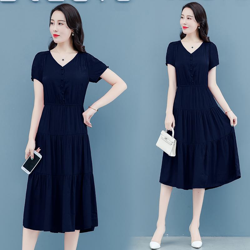 海谜璃 遮肚子连衣裙夏季新款收腰显瘦气质小香风v领有女人味的裙子 HBF2261