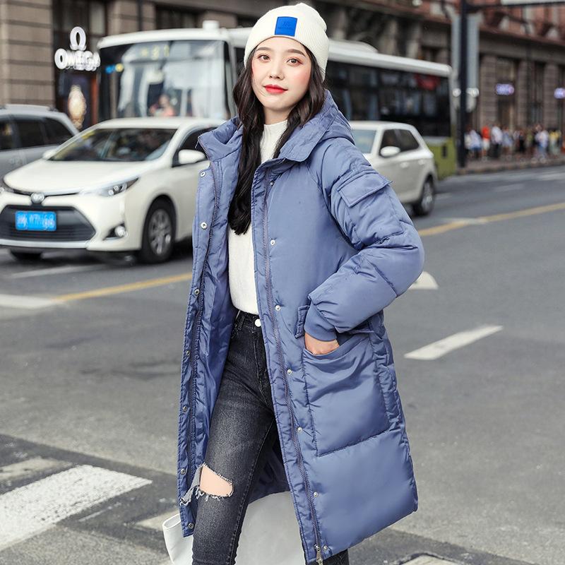 海谜璃 棉服女冬季新款韩版学生bf宽松长款加厚棉袄大码女装外套女 HBF2365