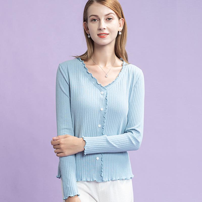 海谜璃 法式木耳边紫色长袖t恤女新款设计感小众针织衫 HBF2445