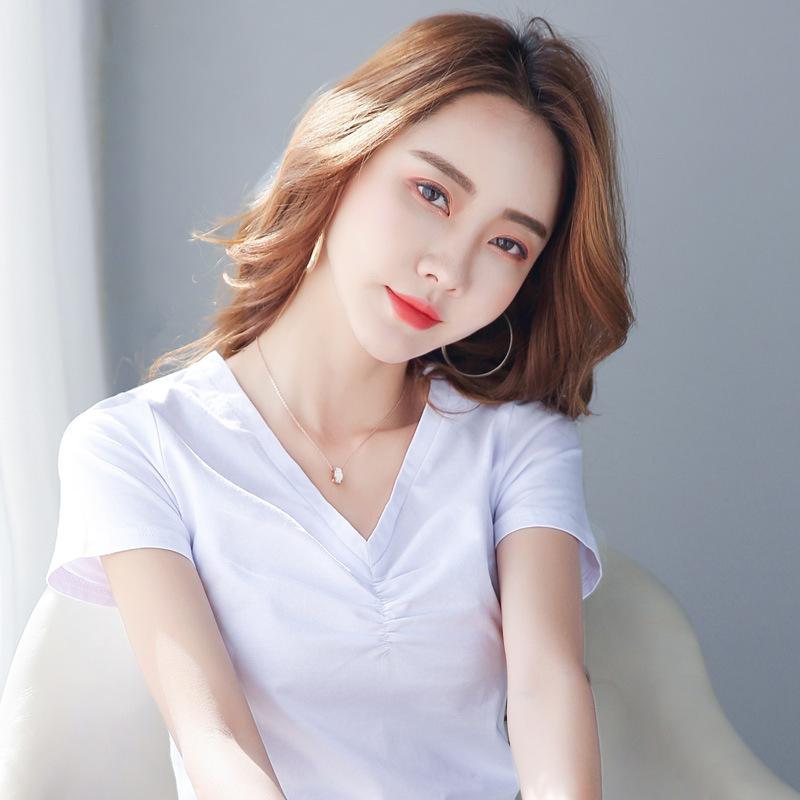 海谜璃 春夏装新款纯色V领抽皱宽松上衣纯棉短袖t恤女 HBF2335