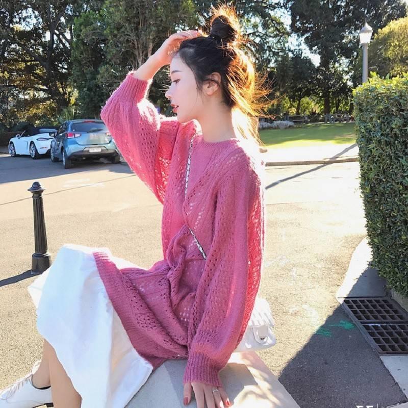 海谜璃 温柔气质超仙时尚新款两件套装百搭针织衫毛衣裙仙女人味连衣裙秋 HBF2452