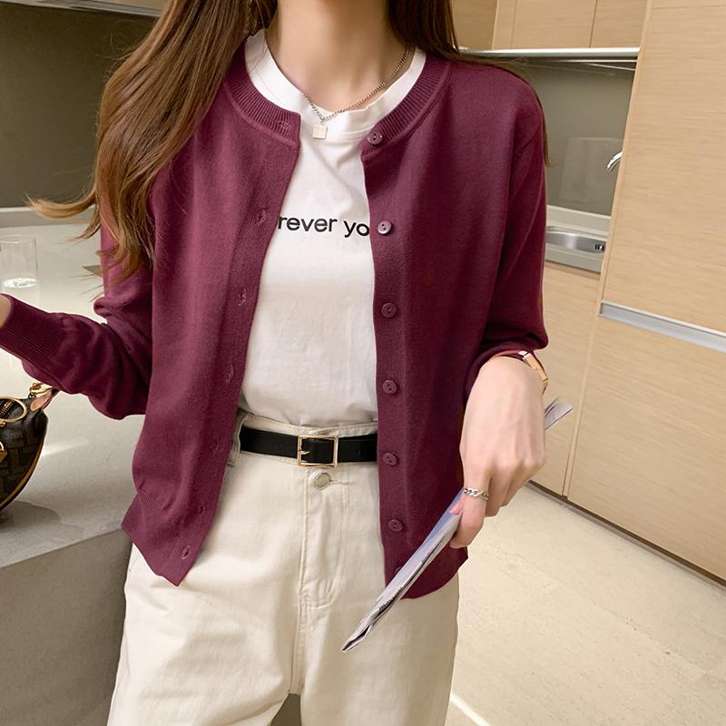 海谜璃 软糯针织开衫女新款网红毛衣外套春秋宽松外穿短款外搭上 HBF2399