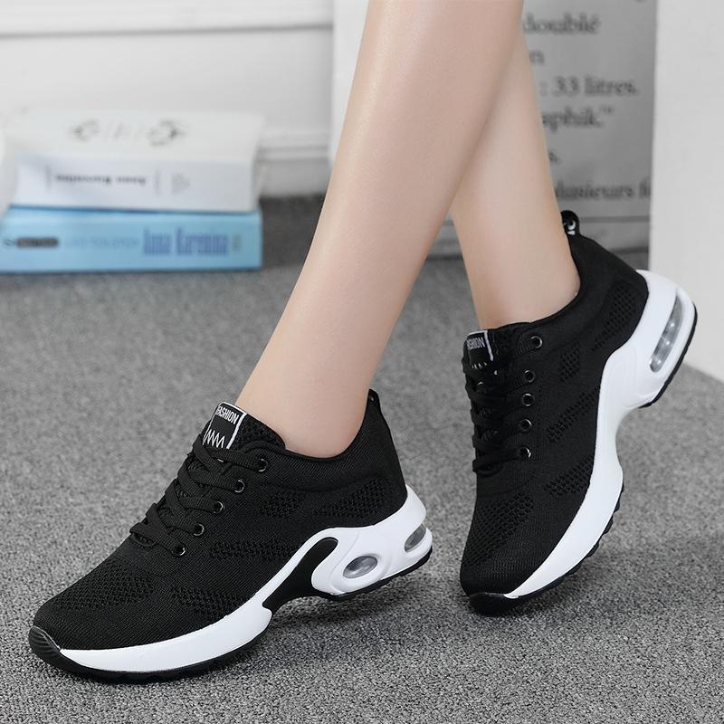 海谜璃 气垫鞋女透气鞋飞织运动鞋休闲跑步鞋韩版学生网布女鞋 HB3046