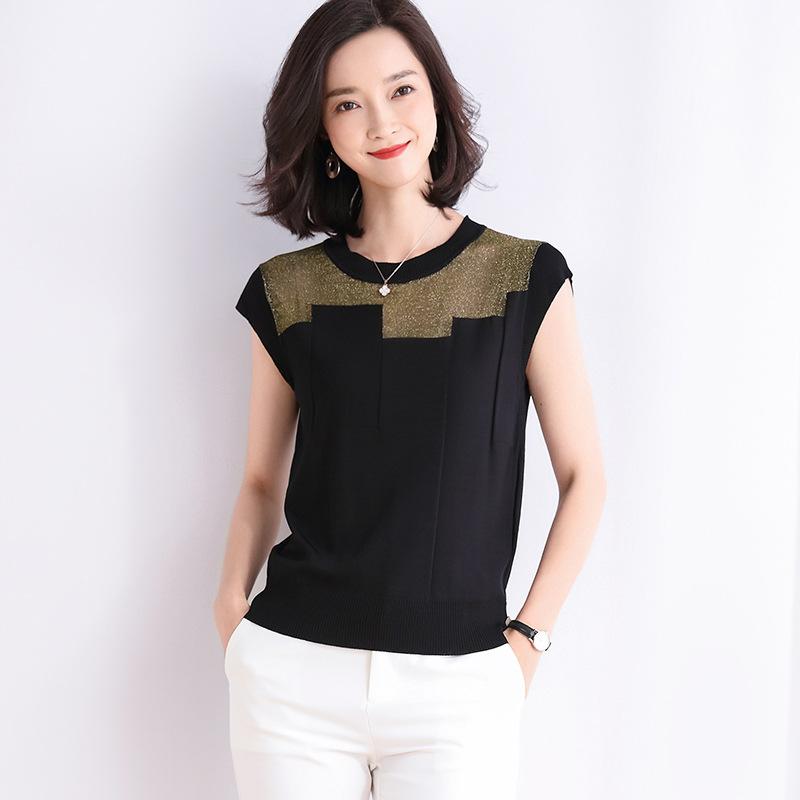 海谜璃 镂空针织衫短袖女夏装新款圆领亮丝针织T恤打底衫 HBF2331