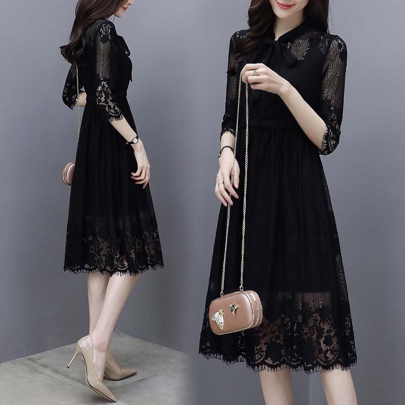 海谜璃 新款女装韩版七分袖蕾丝连衣裙女黑色气质显瘦中长款裙子 HB8296