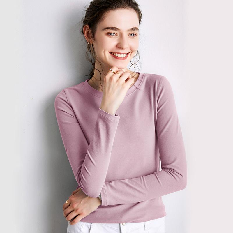 海谜璃 长袖t恤女秋新款打底衫圆领体恤宽松纯色韩版上衣 HBF2443