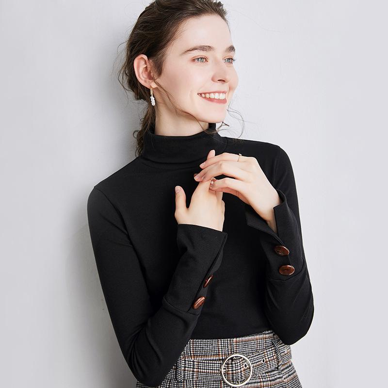 海谜璃 纽扣t恤女修身长袖女装秋季打底衫女内搭高领时髦时尚洋气上衣 HBF2442