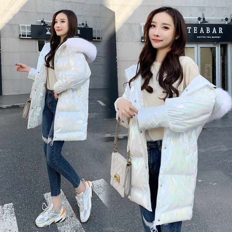 海谜璃 棉服女新款亮面显瘦中长款面包服冬季韩版百搭宽松棉袄外套潮 HBF2367