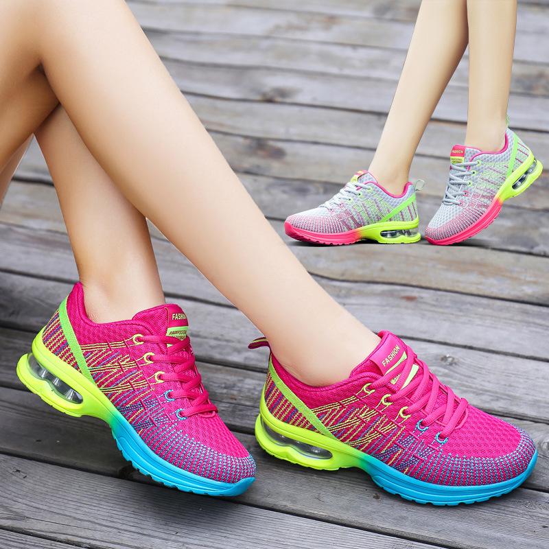 海谜璃 飞织运动鞋女透气网布气垫鞋休闲跑步女鞋轻便旅游鞋 HB3045
