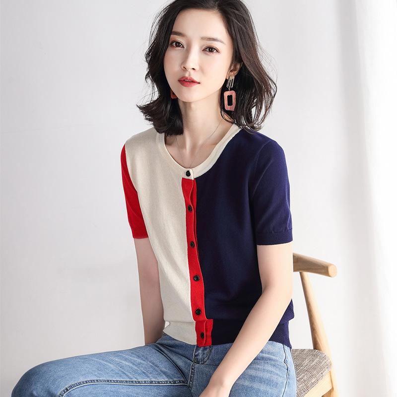 海谜璃 撞色针织衫女短袖夏季新款冰丝拼色套头t恤衫V领上衣打底衫 HBF2330