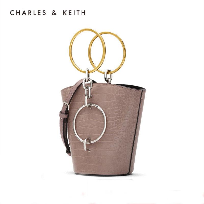 CHARLES&KEITH 小CK女包圆环手提单肩水桶包女CK2-10671031