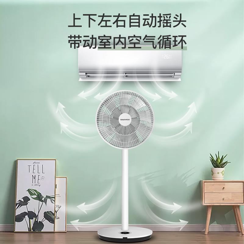 韩国大宇电风扇落地扇夏立式家用空气循环扇静音台式遥控直流变频 F3 (2020年升级款)