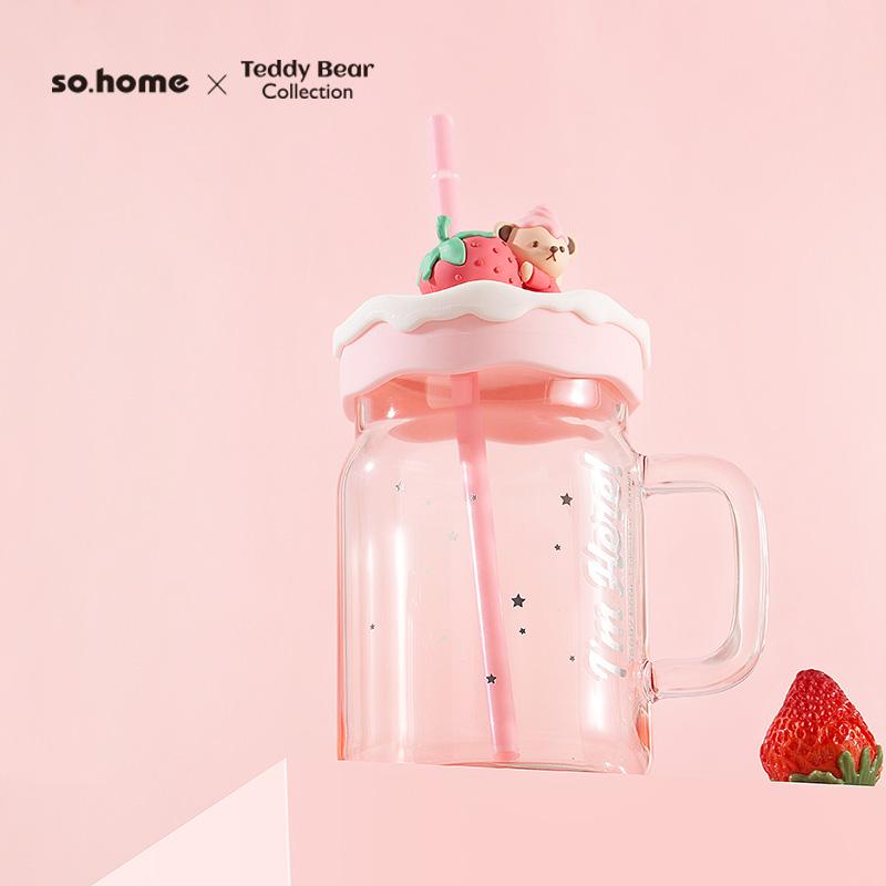 so.home泰迪梅森杯泰迪珍藏吸管杯玻璃吸管杯 粉色