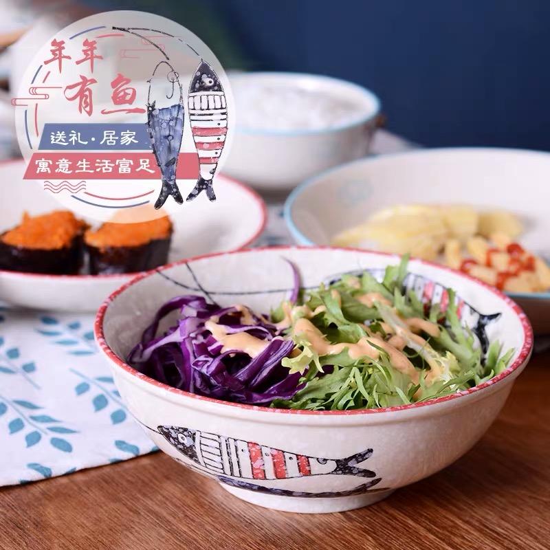 日式纯手工釉下彩5寸罗纹碗/个