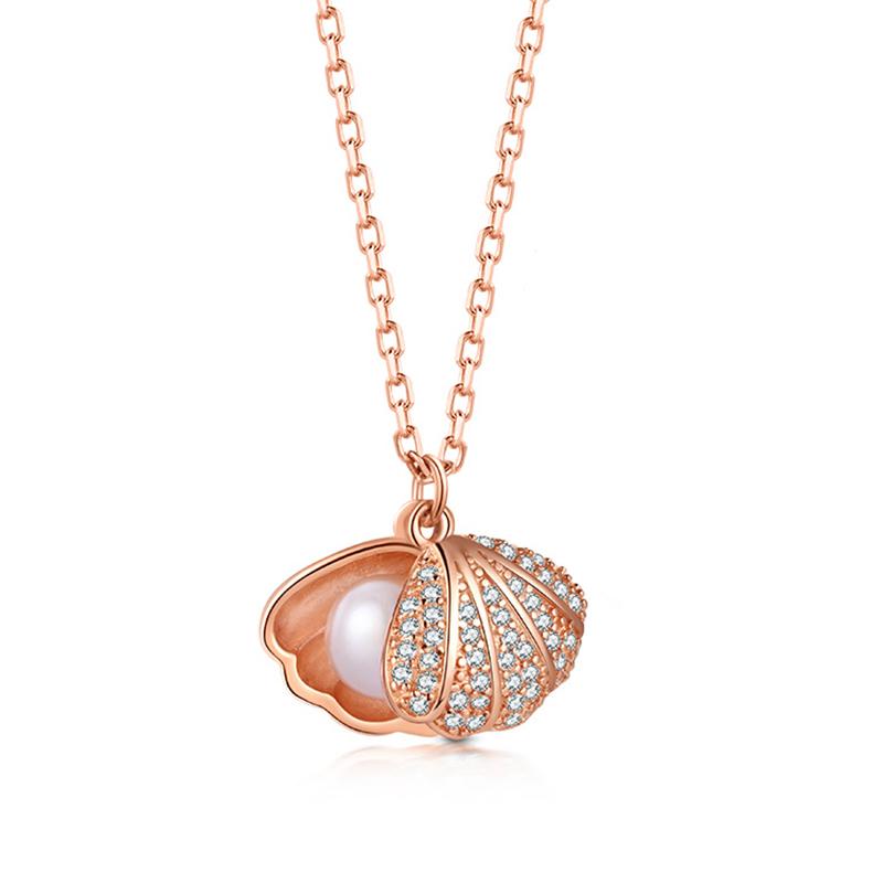 金喜善925银轻奢贝壳珍珠项链镶嵌锆石