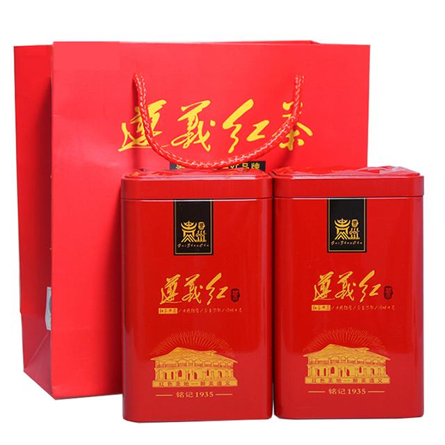 亿树春贵州原生态无公害茗茶遵义红高档精美罐装礼盒(105gX2罐) 210g