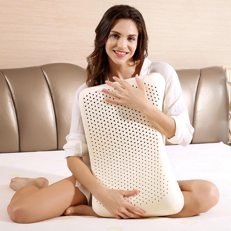 泰嗨 美容平面乳胶枕头 枕心带枕套 泰国原装进口,90%乳胶 TPA12-01