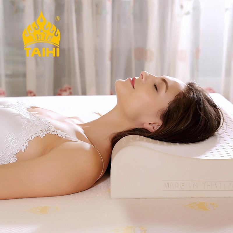 泰嗨 矮款波浪平滑乳胶枕头 枕心带枕套 泰国原装进口,90%乳胶 TPA33-01