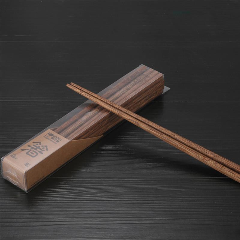 康巴赫天然无漆无蜡鸡翅木筷子原木家用筷子套装 10双装