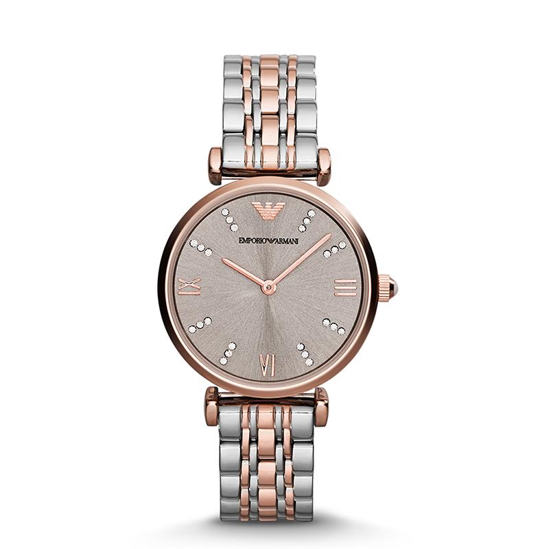 阿玛尼(Emporio Armani) 镶钻时尚石英腕表 玫瑰金钢带 AR1840