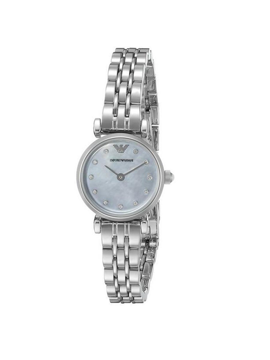 阿玛尼Emporio Armani手表女 时尚镶钻简约贝母小表盘石英钢带女表