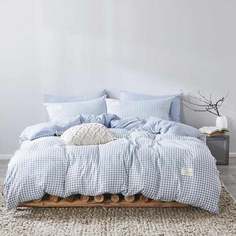 【蒋欣代言】俞兆林 美棉四件套简约日系纯色条纹床单被套枕套三件套