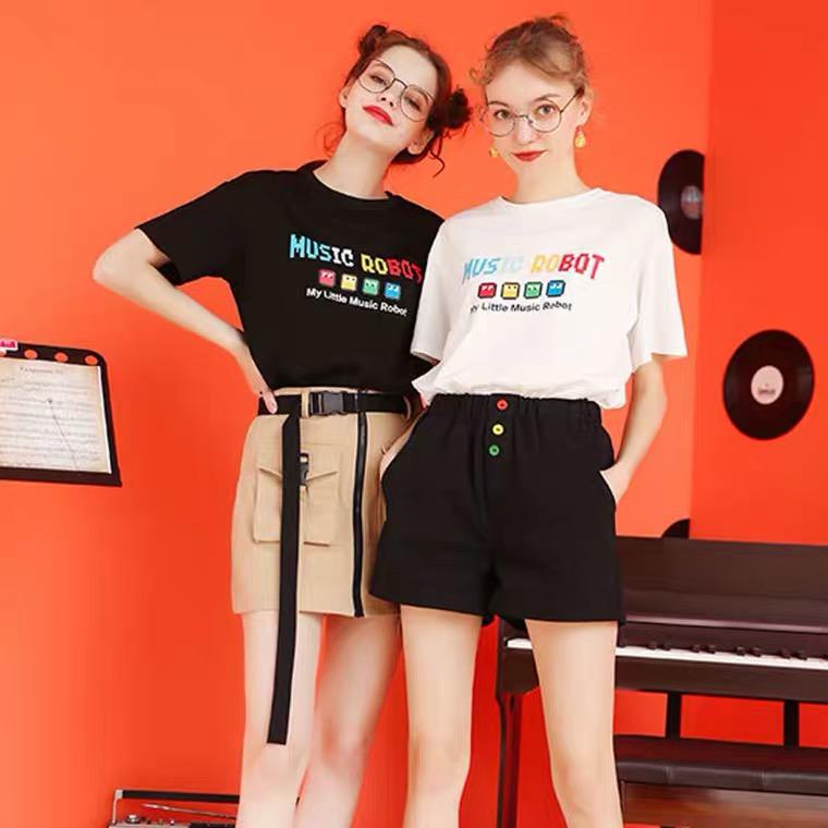 高织精梳棉短袖T恤 100%纯棉 music robot印花图案 男女同款