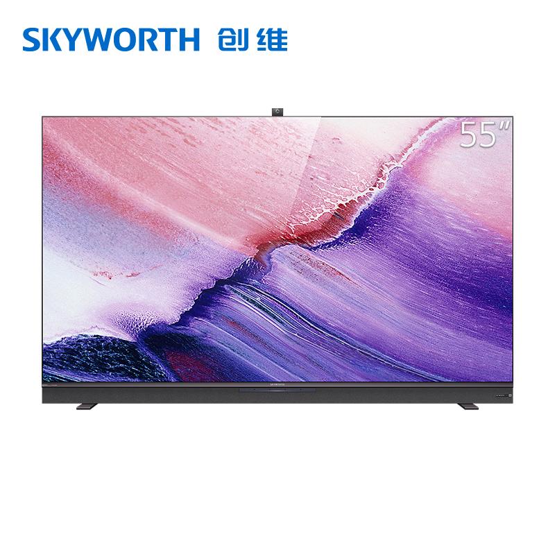 创维(SKYWORTH)v 55英寸4K全民AI娱乐电视 声控语音 升降式摄像头 2+32G内存 全面屏 防蓝光护眼