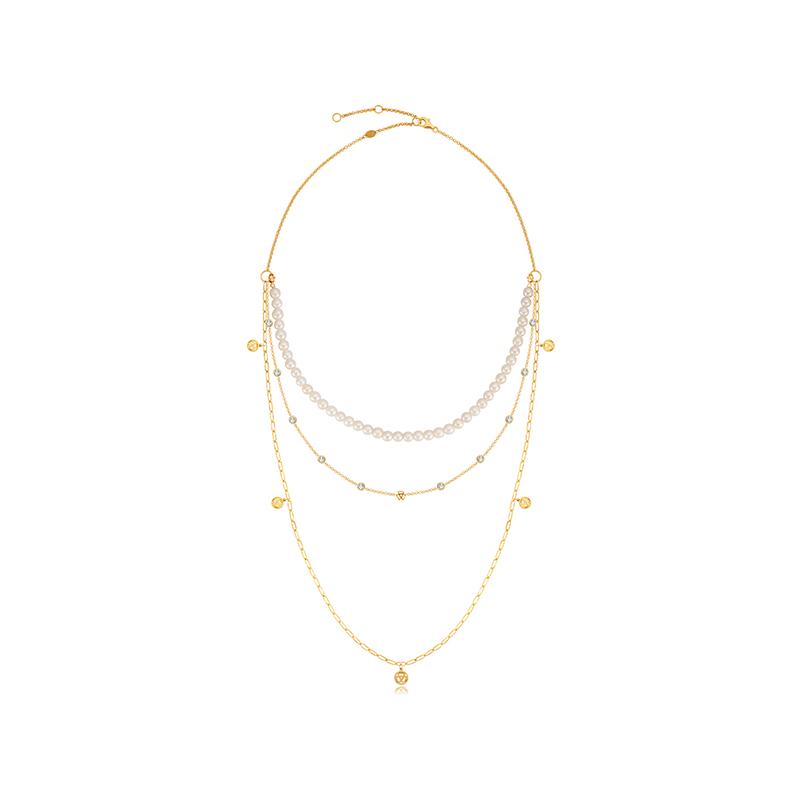 瑞士BOVALY轻奢珍珠项链多层可拆LOGO系列
