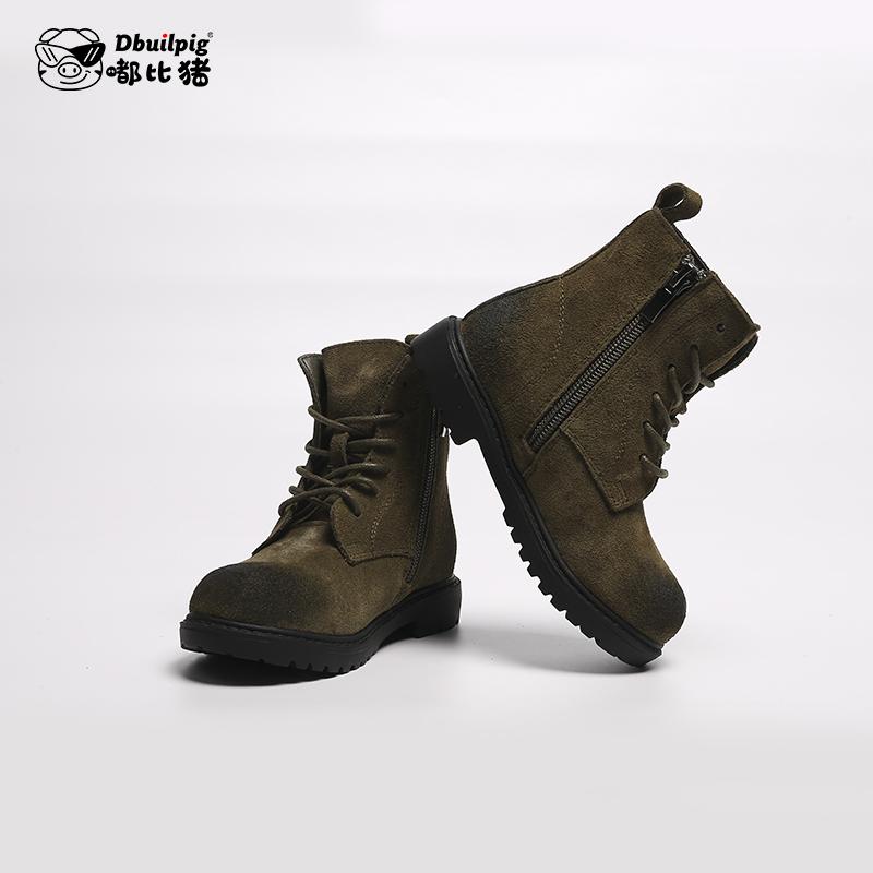 马丁靴春秋款英伦风真皮男童单靴冬儿童网红短靴